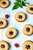 Linzer biscuits with raspberry jam
