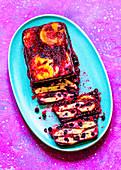 Cut terrine of pancakes and berries