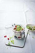 Breakfast quark with microgreens in a jar