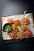 Oven-baked tomatoes with chives