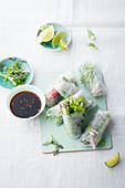 Summer rolls with cucumber and rapini
