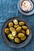 Falafel stuffed with quail eggs