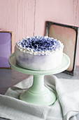 A blue-and-white ruffle cake