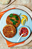 Salmon cakes with sesame seeds