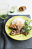 Tempeh and pork skewers with rice, Indonesia