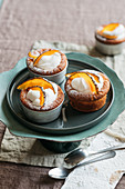 Buffalo mozzarella cupcakes with whipped cream and candied pumpkin