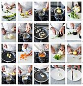 Zahnbrasse mit Artischocke, Aubergine, Blumenkohl und zwei Gemüsecremes zubereiten