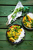 Yellow vegetable curry with lotus roots and Basmati rice