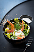 Wild herb salad with shrimps