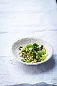 Brussels sprouts salad with fish