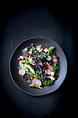 Kale salad with avocado and radishes