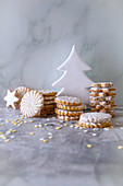 Various Christmas biscuits with white icing