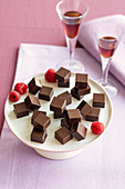 Nut nougat confectionery with raspberry and chili