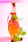 Homemade strawberry liqueur with fresh wild strawberries, wine spirit, rock sugar and vanilla