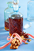 Homemade East Frisian winter liqueur with star anise, cinnamon, corn schnapps and rock sugar