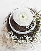 Delicate Easter arrangement with ranunculus and gypsophila