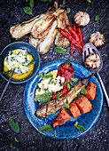 Grilled vegetables with mint garlic sauce