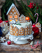 Gingerbread town cake