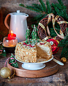 Traditional Russian Napoleon cake for Christmas