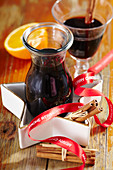 Christmas liqueur with dark beer, ginger, orange, cinnamon, close and wine spirit
