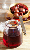 Homemade damson liqueur with whisky