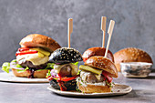 Variety of homemade classic and mini burgers in wheat and black buns with beef and veal cutlets, melted cheese and vegetables