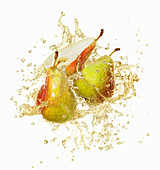 Pears with a juice splash