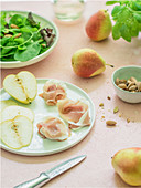 Prosciutto and pears on the plate