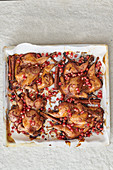 Roasted poussin with pomegranate seeds and cinnamon