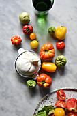 Zutaten für Burrata Caprese Salat