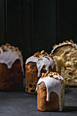 Traditional Russian and Ukrainian Easter cake Kulich Paska bread glazed with almond