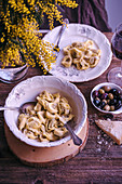 Tortelloni pasta with cheese served for lunch