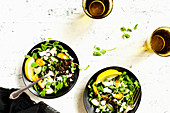 Black Lentil Pea Shoot Salad with Feta Vinaigrette