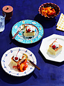Tres leches cake with roasted peaches