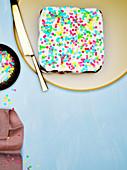 Fairy bread cCake, rainbow sprinkles, hundreds and thousands