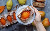 Saffron pear frangipane tart