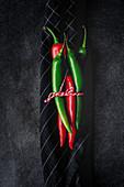 Frische rote und grüne Chilischoten, zusammengebunden