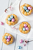 Plaited yeast baskets for Easter