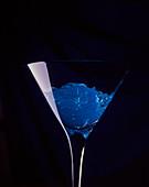 Blue jelly in a martini glass