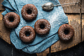 Vegan oven-baked, sugar-reduced chocolate banana donuts