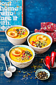 Pumpkin and lentils cream soup with apple