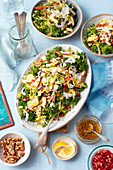 Kale and brussel sprouts salad with apple, walnut and parmesan