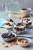 Granola tiramisu with quark and blueberries