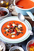 baked pepper cream soup with mozzarella