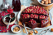 Red kidney bean brownie with pomegranate