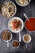 Koshari with rice, noodles, lentils, tomato sauce and fried onions (Egypt)