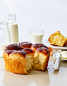 Easter brioche served with butter and milk