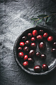 Fresh cranberries in a ceramic bowl