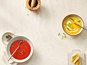 Beetroot gazpacho with oranges, and sweet potato soup with coconut milk
