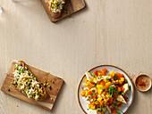 Chicken spread sandwich and mango and chicken salad
